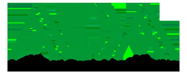ADA Logo - Green sans-serif type over black type