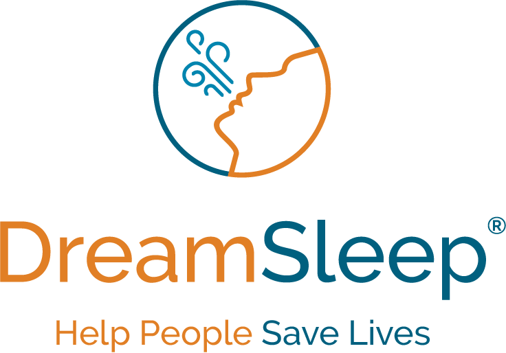 Dream Sleep Logo - Orange and teal sans-serif type with person sleeping above