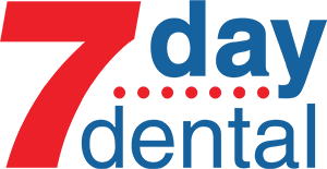 7 Day Dental Logo - Blue and red sans-serif type with red accent