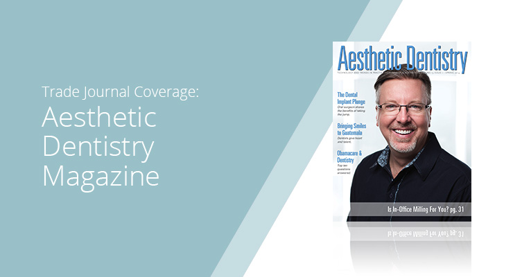 Graphic With Blue Background And White Sans-serif Type Showcasing Aesthetic Dentistry Magazine Cover