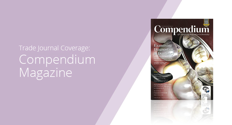 Graphic with lavender background and white sans-serif type showcasing Compendium Magazine cover