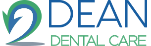 Dean Dental Care Logo - Dark blue and green sans-serif type with arrow icon to left