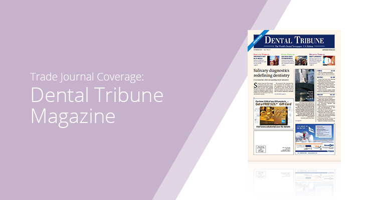 Graphic with lavender background and white sans-serif type showcasing Dental Tribune Magazine cover