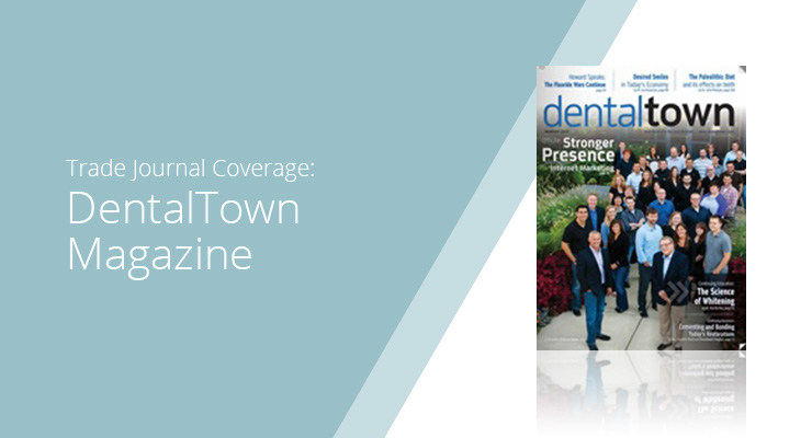 Graphic With Blue Background And White Sans-serif Type Showcasing DentalTown Magazine Cover