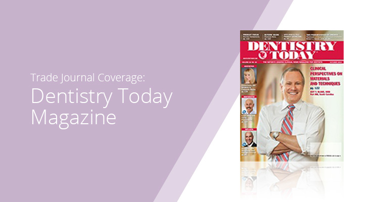 Graphic with lavender background and white sans-serif type showcasing Dentistry Today Magazine cover