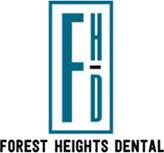Forest Heights Dental Logo - Dark turquoise and gray serif type with FHD initials on top