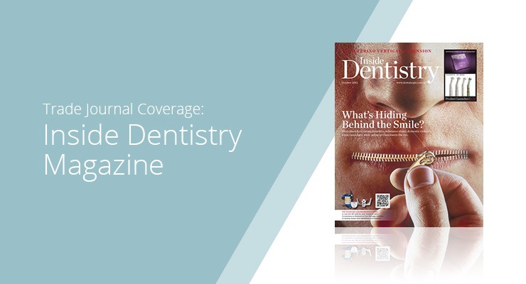 Graphic with blue background and white sans-serif type showcasing Inside Dentistry Magazine cover