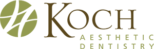 Koch Aesthetic Dentistry Logo - Green and brown serif type with stylized green circle to left