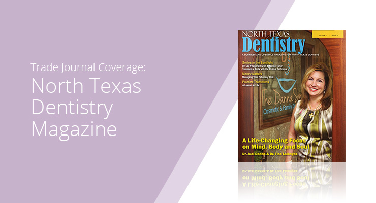 Graphic With Lavender Background And White Sans-serif Type Showcasing North Texas Dentistry Magazine Cover