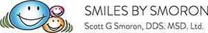 Smiles by Smoron Logo - Black sans-serif type with smiling cartoon faces to left