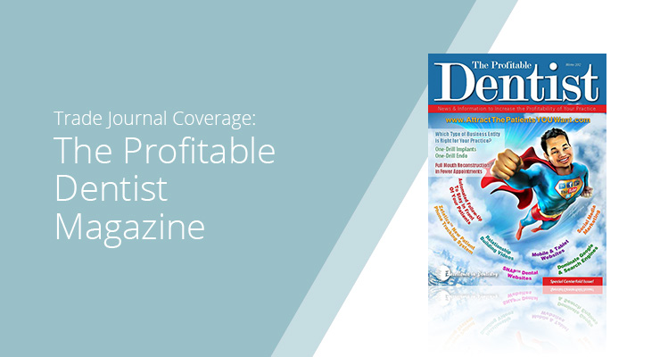 Graphic With Blue Background And White Sans-serif Type Showcasing The Profitable Dentist Magazine Cover