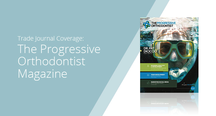 Graphic With Blue Background And White Sans-serif Type Showcasing The Progressive Orthodontist Magazine Cover